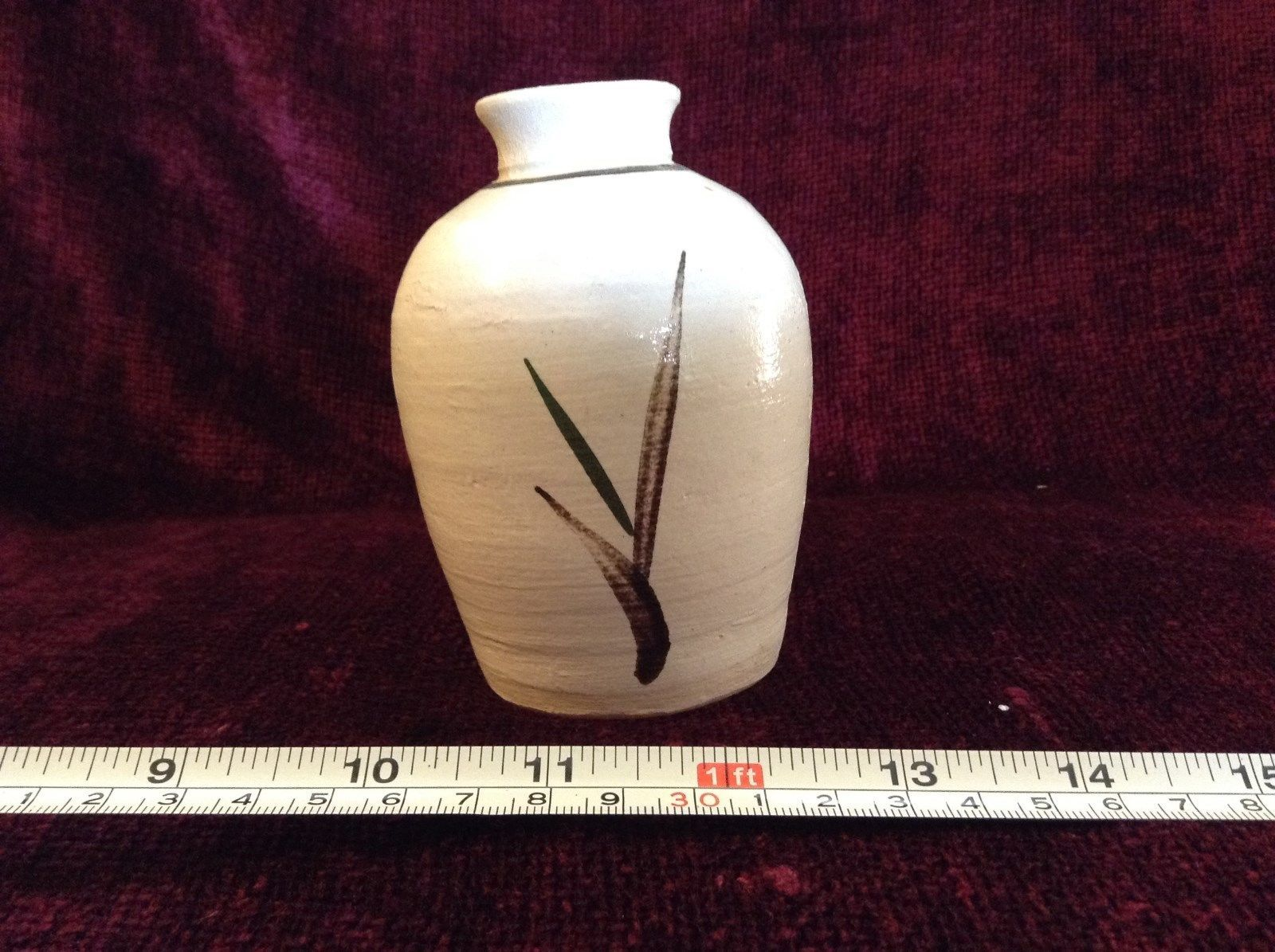Small White Ceramic Vase Asian inspired