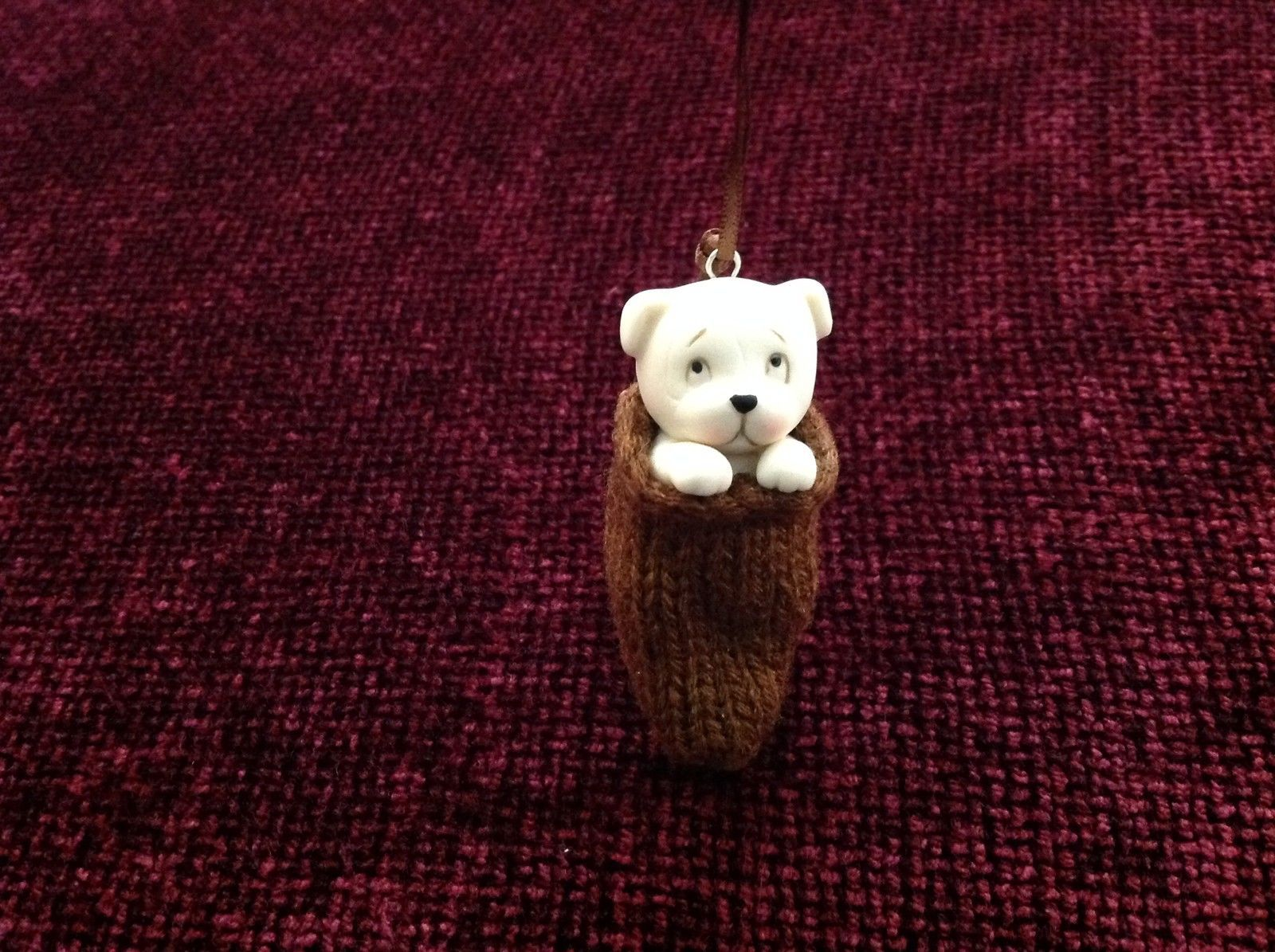 Small Porcelain Blushing puppy Dog in Small Knitted Sock Choice of Sock Color