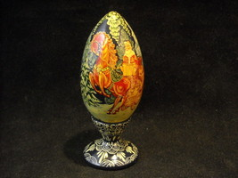 Small Wooden Russian decorated Egg K.Y. Belarus