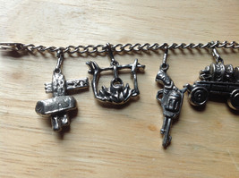 Old West Themed Charm Silver Bracelet Pressure Moving Closure Charms List Below image 2