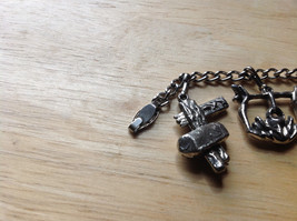 Old West Themed Charm Silver Bracelet Pressure Moving Closure Charms List Below image 6