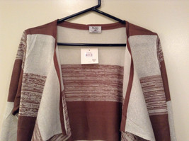 Ombre Brown & White Long Sleeve Cardigan One Size New w glitter sparkle image 3