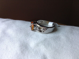 Orange CZ Stone with Cutout Design Stainless Steel Ring Size 9  image 2