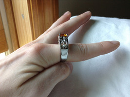 Orange CZ Stone with Cutout Design Stainless Steel Ring Size 9  image 5