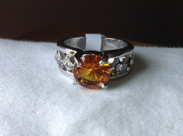 Orange CZ Stone with Cutout Design Stainless Steel Ring Size 9  image 6