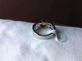 Orange CZ Stone with Cutout Design Stainless Steel Ring Size 9  image 3