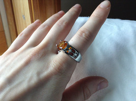 Orange CZ Stone with Cutout Design Stainless Steel Ring Size 9  image 4
