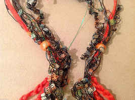 Orange Multicolored Knit Fabric Head Band or Necklace with orange beads image 4