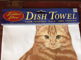 Orange Tabby Cat Dish Towel by Fiddlers Elbow Tag Attached image 4
