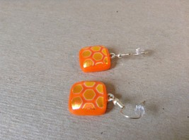 Orange Gold Tone Enamel Hexagon Pattern Squared Shaped Glass Dangling Earrings image 3