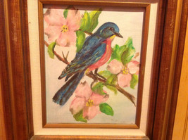 Original Painting Blue Bird on a Branch Beautiful Wooden Frame image 2