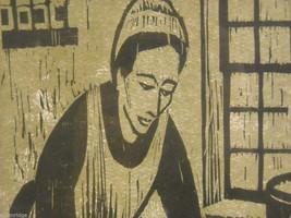 "Original Wood Block Print ""Dumpling Maker"" Artist Constantine Kermes 1965 image 2"