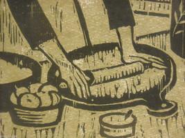 "Original Wood Block Print ""Dumpling Maker"" Artist Constantine Kermes 1965 image 3"