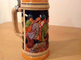 "Ornamental Vintage Collectible Beer Mug Stein ""Hunters rest"" with lid,  Europe image 3"