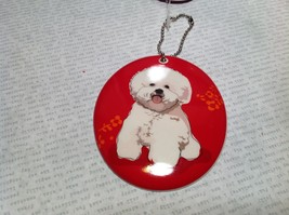 Oval Ceramic Bichon Dog Red Background Ornament w Metal Chain Department 56 image 3