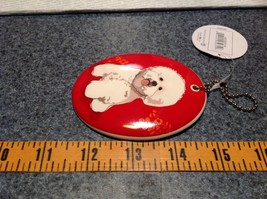 Oval Ceramic Bichon Dog Red Background Ornament w Metal Chain Department 56 image 4