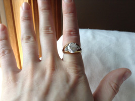 Oval CZ Stone Gold Plated Ring Size 6 image 7