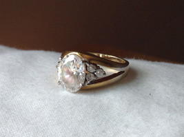 Oval CZ Stone Gold Plated Ring Size 6 image 8
