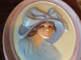 Oval Wall Picture in Frame Handmade Girl in Blue Dress and Hat image 2