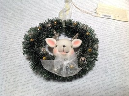 Snow Dream Reindeer in Wreath Porcelain Glitter Mini Christmas Ornament