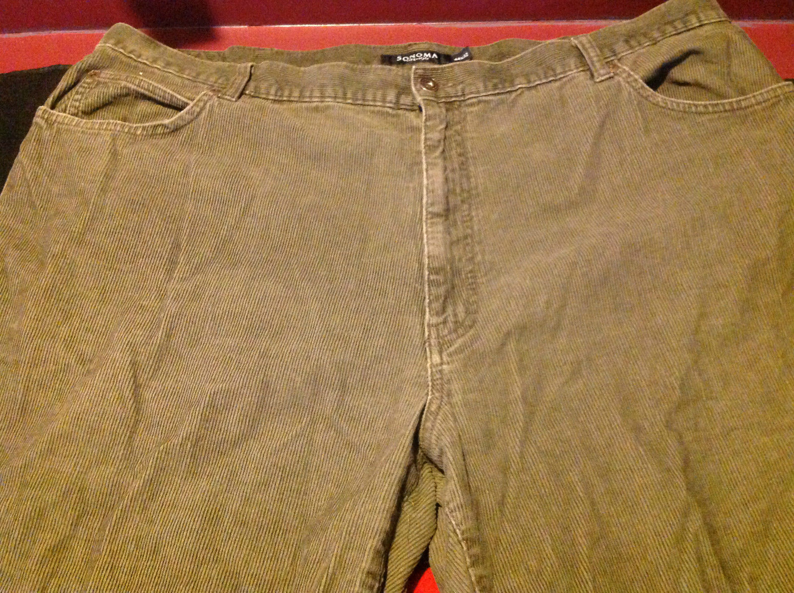 Sonoma Life Style Womens Long Brown Corduroy Pants Size 44 x 32