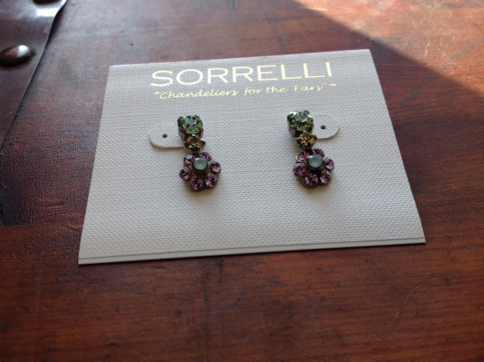 Sorrelli Antique Gold Tone Finish  with Crystals Green Light Purple Earrings