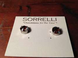 Sorrelli Antique Authentic Silver Tone Earrings with Dark Aurora Crystal