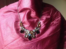 Sorrelli Black Clear Yellow Crystal Antique Style Statement Necklace
