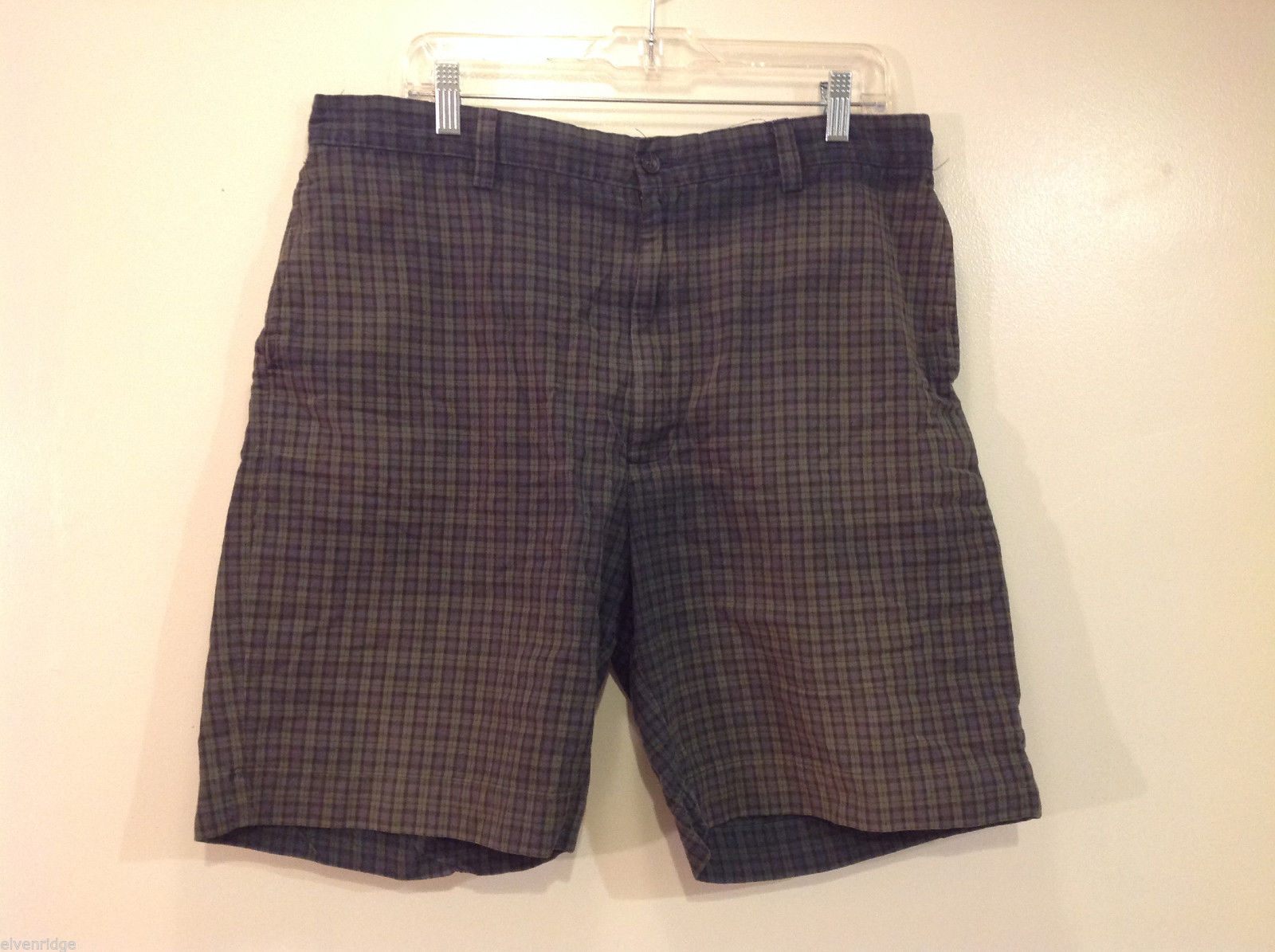 Sonoma Jeans Mens Green Blue Plaid 100% Cotton Shorts, Size 36 with pockets
