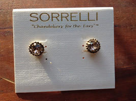 Sorrelli Gold Ton Crystal Very Light Pink Peach Authentic Antique Earrings