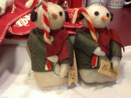 Pair of too cute felted snowman w candy canes and Be Merry Sign jacket and scarf image 2
