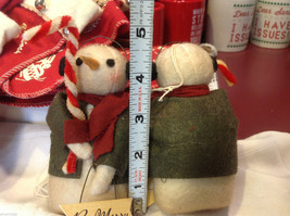 Pair of too cute felted snowman w candy canes and Be Merry Sign jacket and scarf image 3