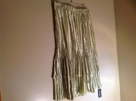Pale Green Calf Length Pleated Skirt Shiny Material by Magic Scarf Co. image 4