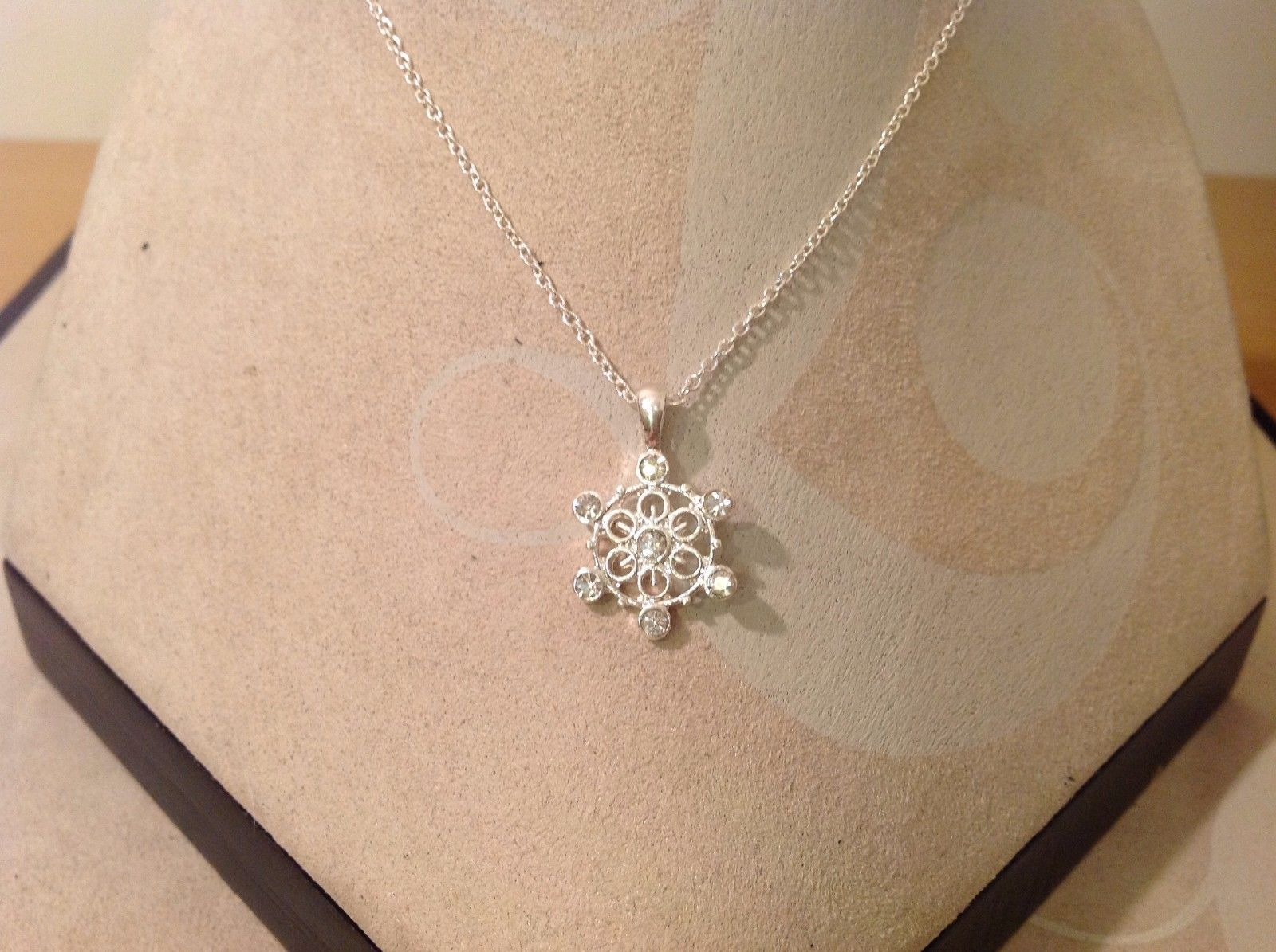 Snowflake Fashion Necklace  w Crystals gift message Great Secret Santa Prezzie