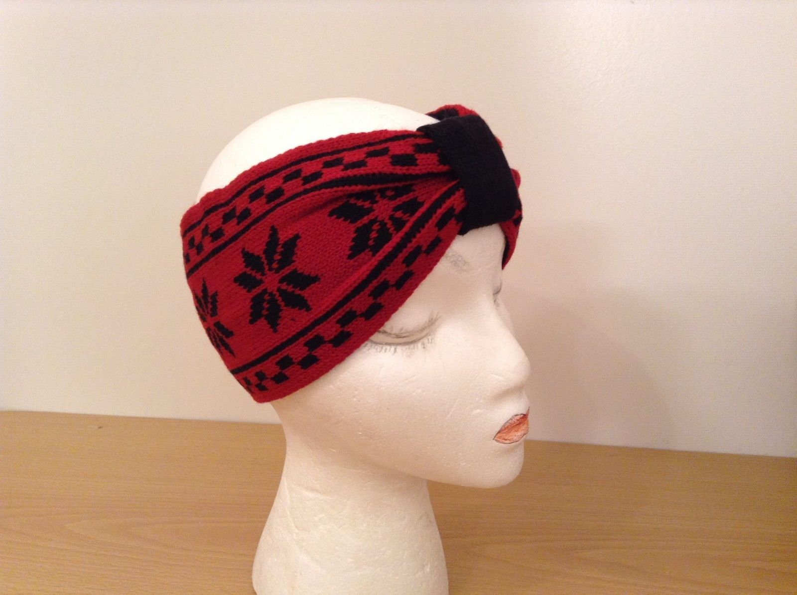 Snowflake pattern Nordic reversible head wrap ear warmer head band color choice