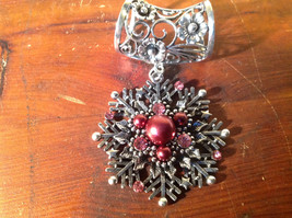 Snowflake with Red Beads and Crystals Scarf Pendant Silver Tone by Magic Scarf