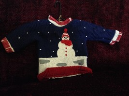 Snowman with Snow Falling on Blue Poseable Ugly Sweater Ornament Department 56