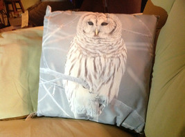 Snowy Owl on Front Gray and White Decorative Square Pillow
