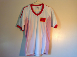 Soccer White Shirt with Red Accent by LIAD Flag on Front Size 2XL