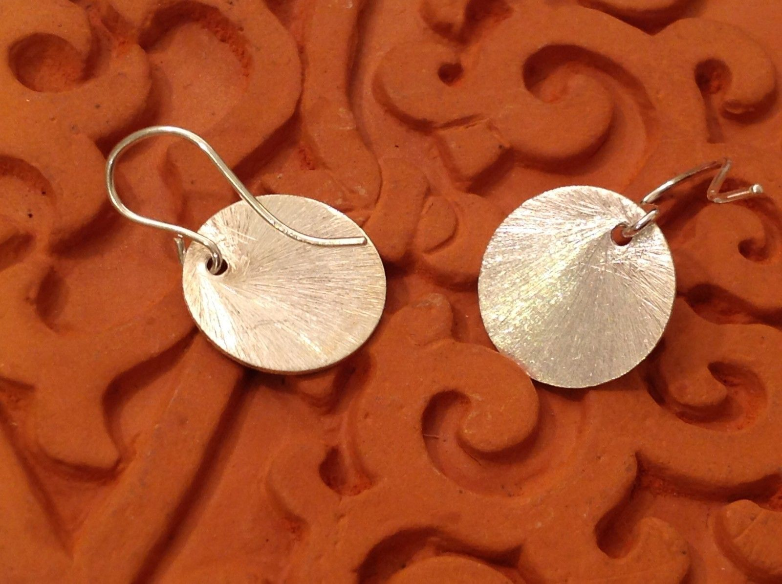 Solid Silver Zina Kao Silver Disk Earrings Handmade in California