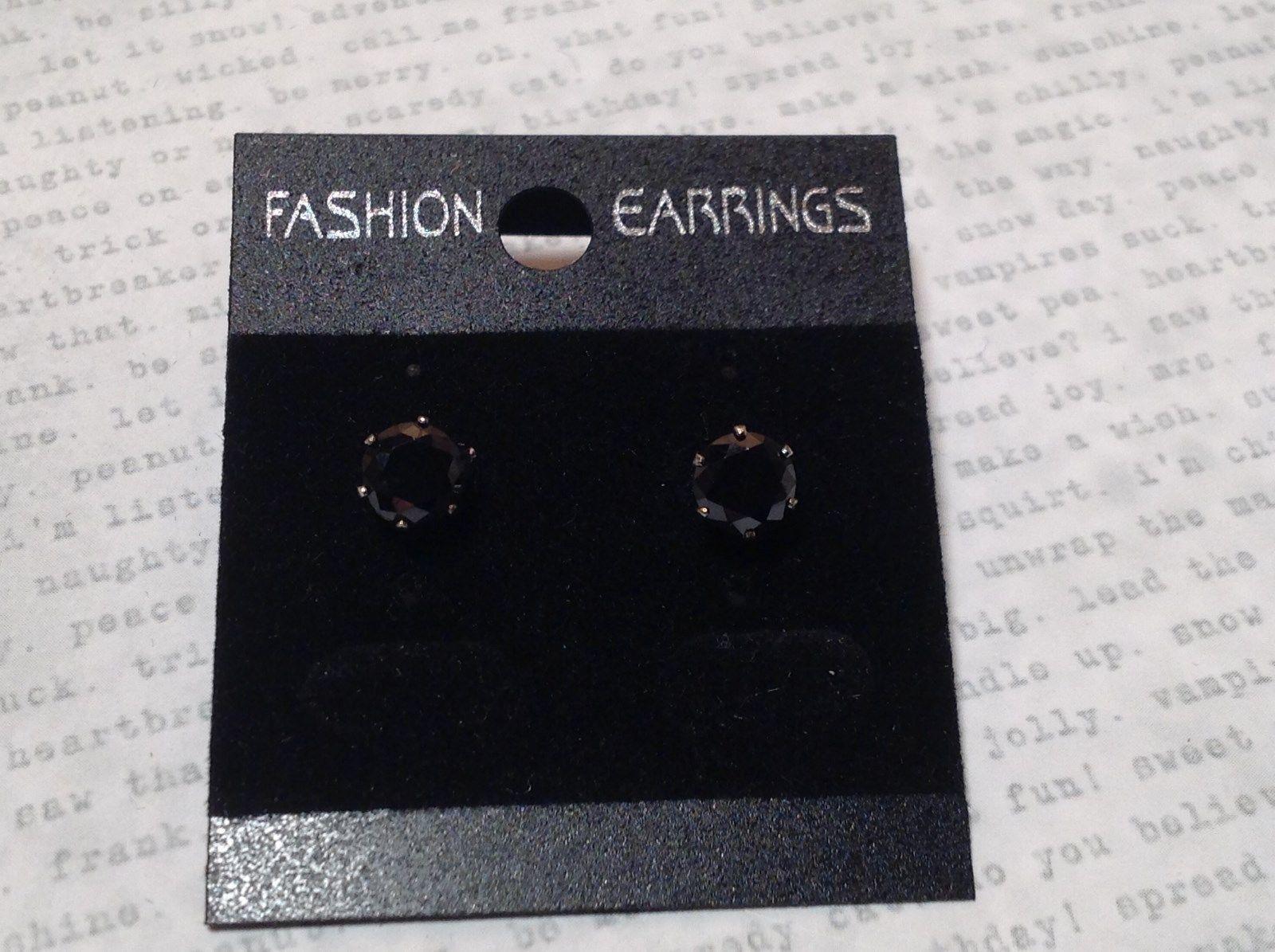 Solid Black CZ Stone Silver Tone Stud Earrings