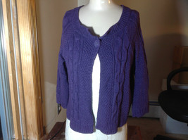 Sonoma Purple open front cable knit sweater one button closure size medium