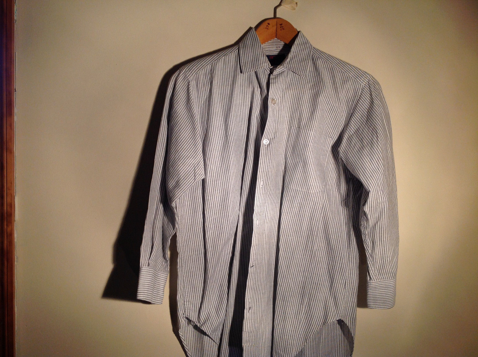 Sofia and Anne White Striped Long Sleeve Button Up Collared Dress Shirt