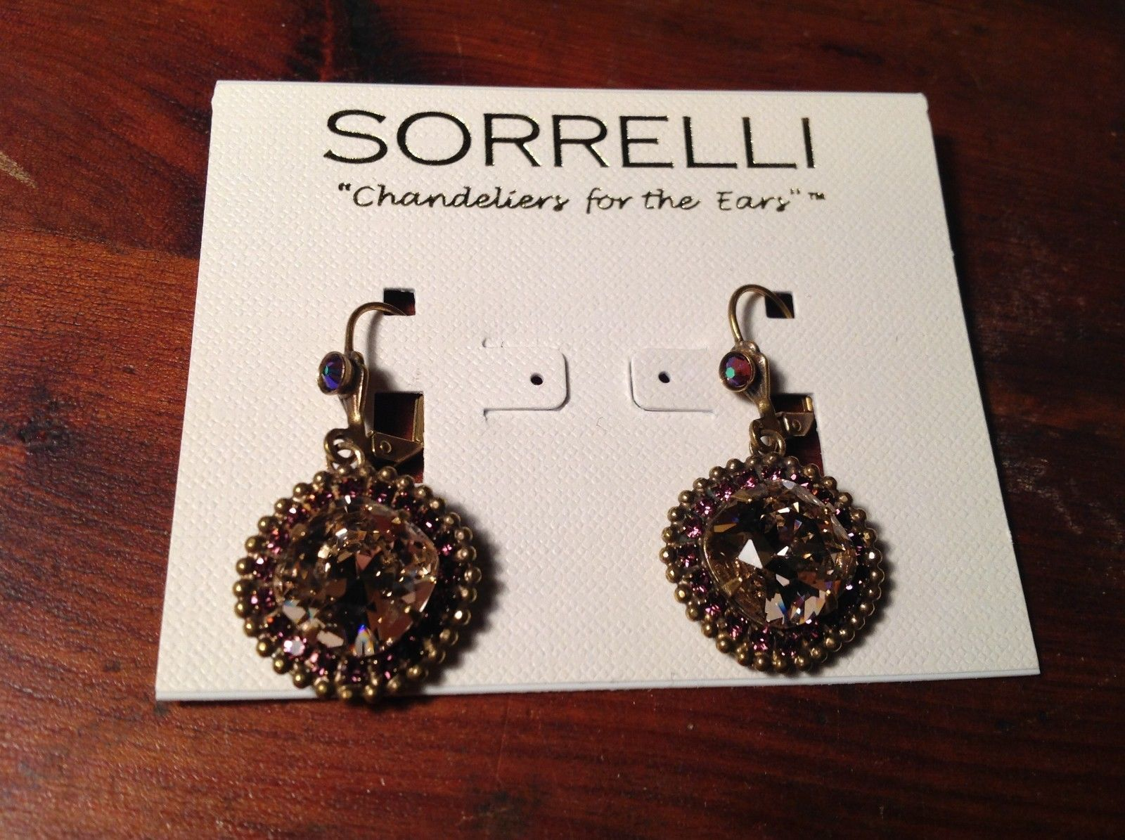 Sorrelli Antique Gold Tone Finish  with Crystals Very Light Pink Purple Earrings