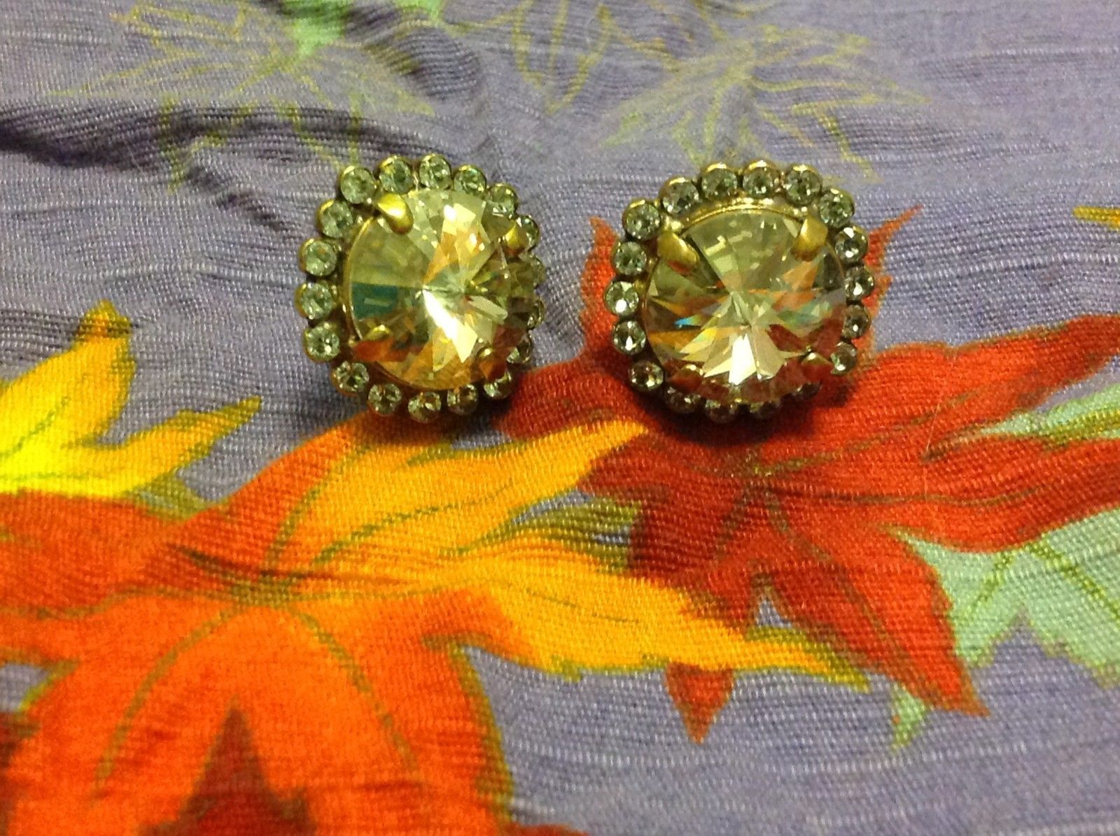 Sorrelli Antique Authentic Gold Tone Finish Earrings with Clear Crystals