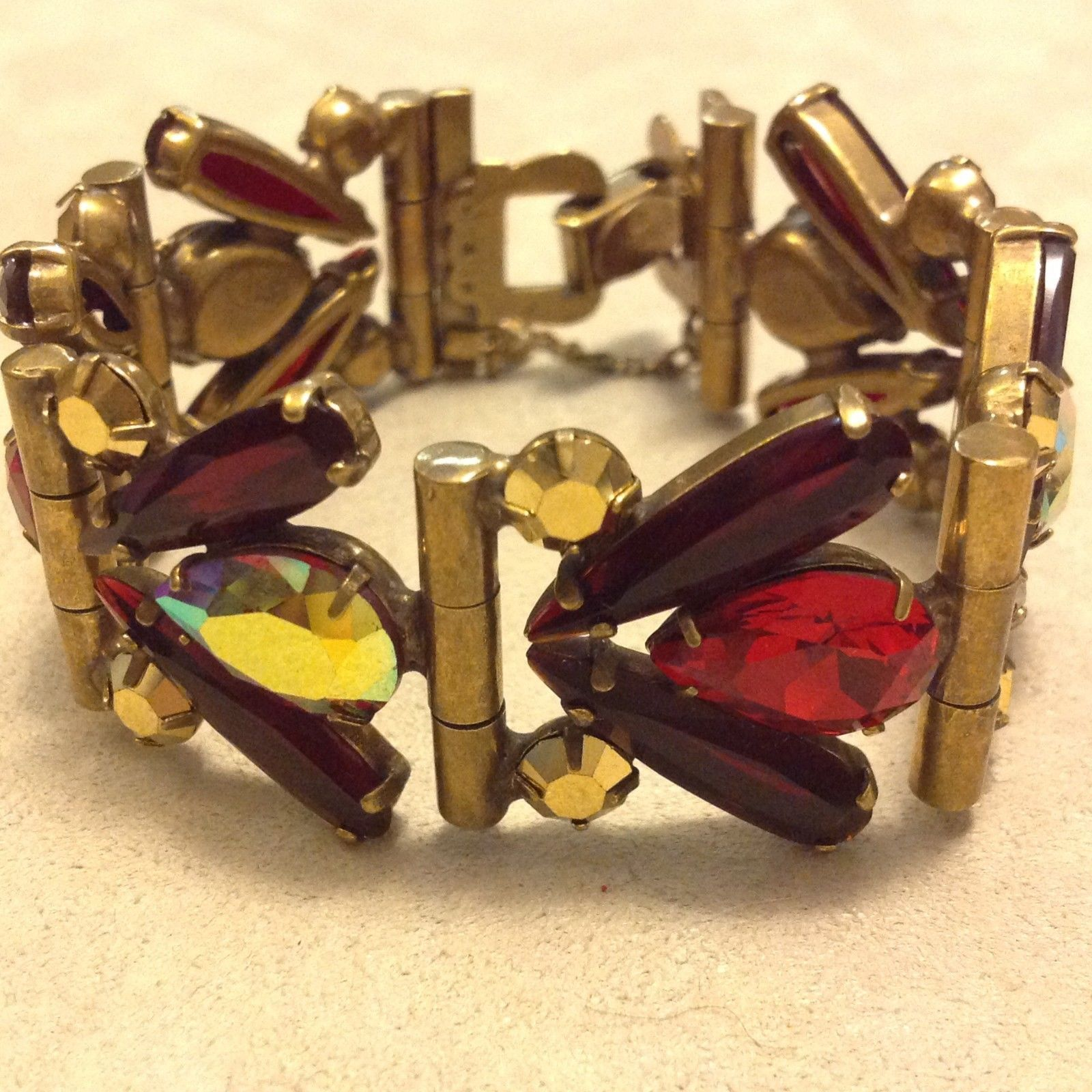 Sorrelli Gold Ruby statement bracelet with clasp security chain vintage inspired