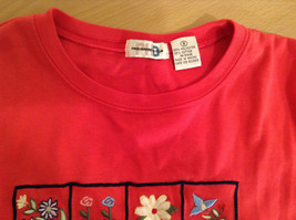 Paul Harris Design Red Short Sleeve T Shirt with Flowers on Front Size Small image 6