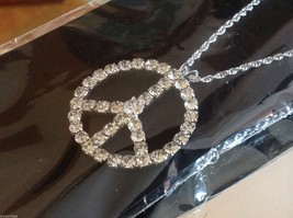 Peace sign pendant in rhinestone on chain necklace  image 4
