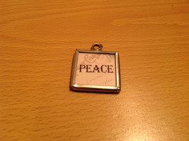 Peace and Santa Reversible Versatile Charm Present Tie On Tag Metal Glass Tag image 2