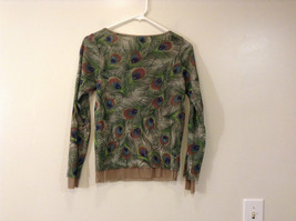 Peacock Feather Pattern The Limited Top Double Layers Green Beige Size Medium image 2